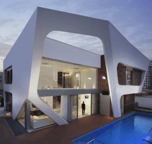 sentuhan masa depan pada arsitektur rumah modern gaya